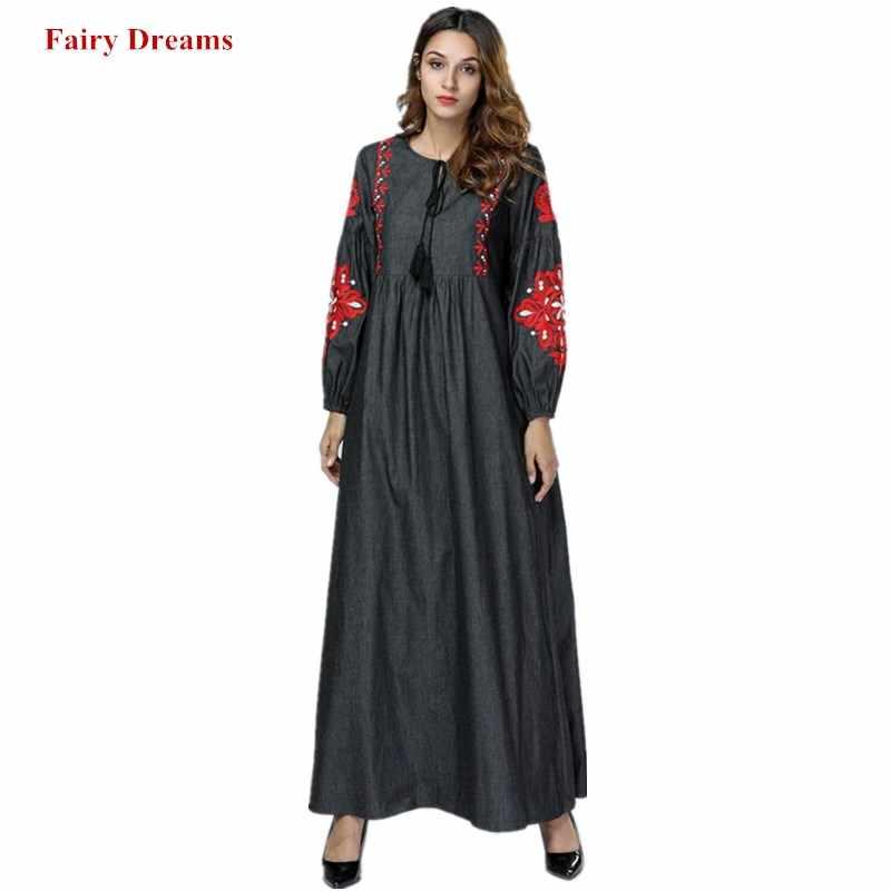 Длинное джинсовое платье Для женщин Дубайский мусульманский Абаи с цветочной вышивкой Турция Малайзия турецкий Кафтан Исламская халат большого размера Костюмы 2018