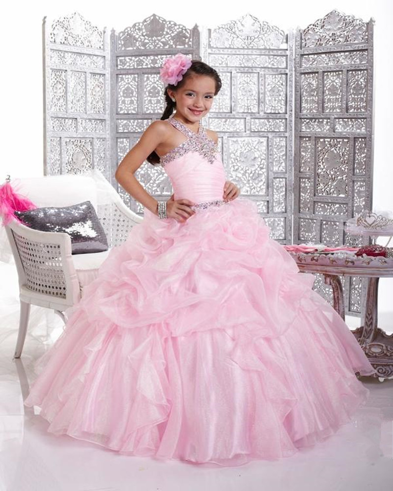 Pink Ruffles Organza Ball Gown Halter Neck Beading Pleated   Flower     Girl     Dress   for Weddings Party Custom Made