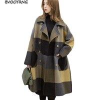 New Plaid Woolen Coat Women Autumn Winter Fashion Long Loose Windbreaker Coats Female Thicken Cashmere Winter Woolen Jackets