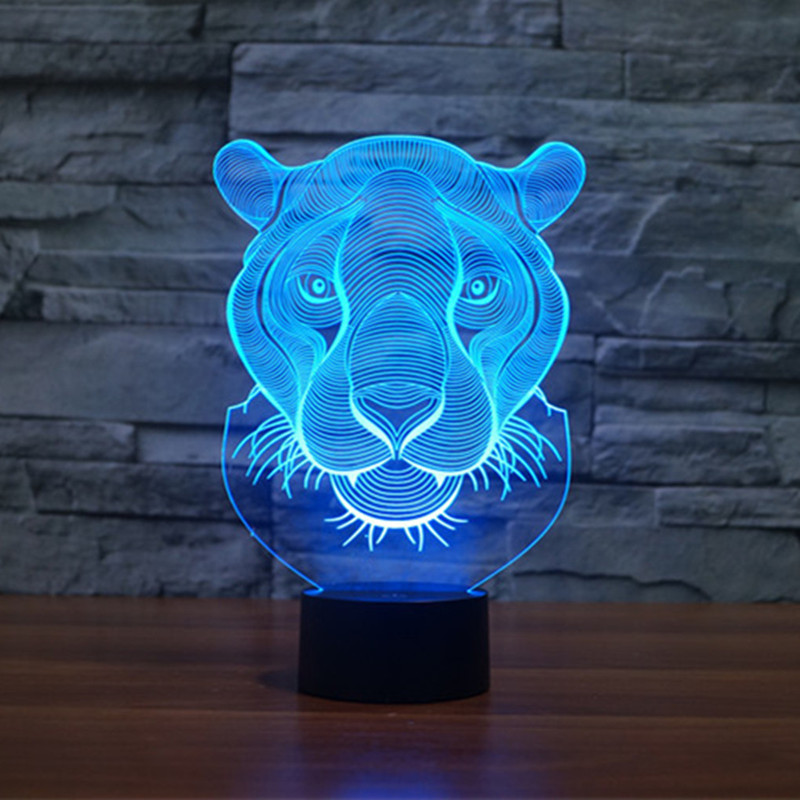 AUCD 7 Color Lion 3D Visual Night Light USB Touch Swtich 2017 Valentine Gift Birthday Holiday Wedding Bedroom Ambient Lights-274