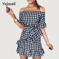 Yojoceli Sexy Off Shoulder Plaid Vintage Dress Women Summer Bow Ruffle Dress 2017 Street Chic Slash
