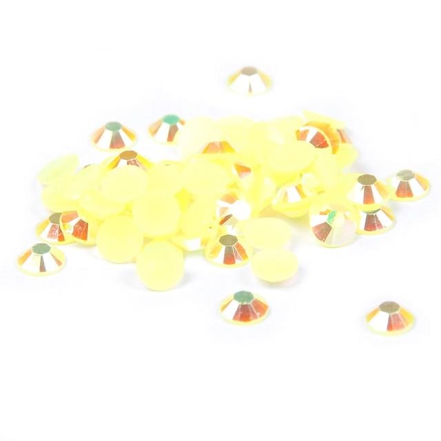 Citrine AB Color Rhinestones de la resina 2-6mm 14 Facetas Flatback Redondo no Hotfix Del Clavo 3D Decoración Arte DIY Super Gitter gemas