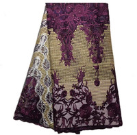 BY173 Deep purple Free shipping African net lace fabric,high quality embroidered French lace fabric for party & wedding dress!