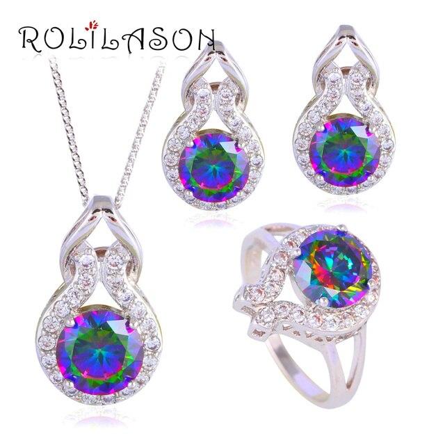 Rolilason Js620 Silver Stamped Clip Earrings Necklace Pendant Rings Wedding Rainbow Mystic Zircon Aaa Cz Jewelry