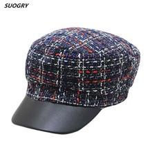 цена на SUOGRY 2018 New Brand Quality PU Brim Nylon Knitting Men Women Military Hats Classic Retro Cap Flat Top Navy Hat