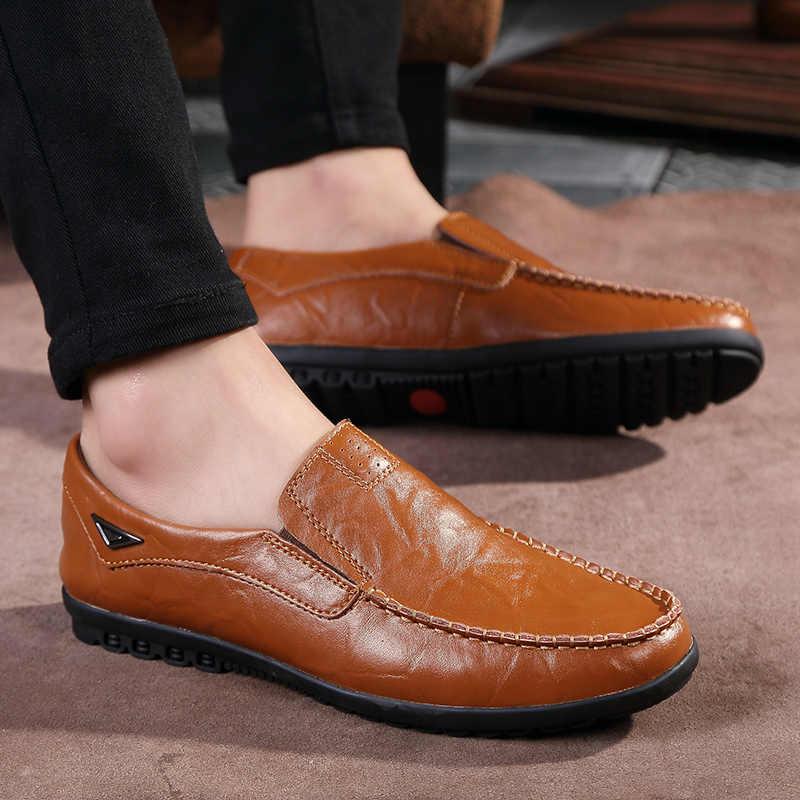 2019 ชายรองเท้าหนังแท้รองเท้าหนัง Breathable รองเท้าแตะ Loafers ที่มีคุณภาพสูงนุ่มสบายขับรถรองเท้า