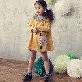 Vestido de La Muchacha 2016 Nuevos Niños Niños Niñas Bebés Lindo Zorro vestido largo de la manga de La Princesa Tutu Vestido de Niña Ropa Del Partido amarillo 2-7Y