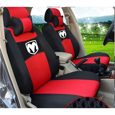 grey/beige/red ventilate Embroidery logo Car Seat Cover Front 2 Seat For Dodge Ram charger durango journey dart with neck grey red beige embroidery logo car seat cover front