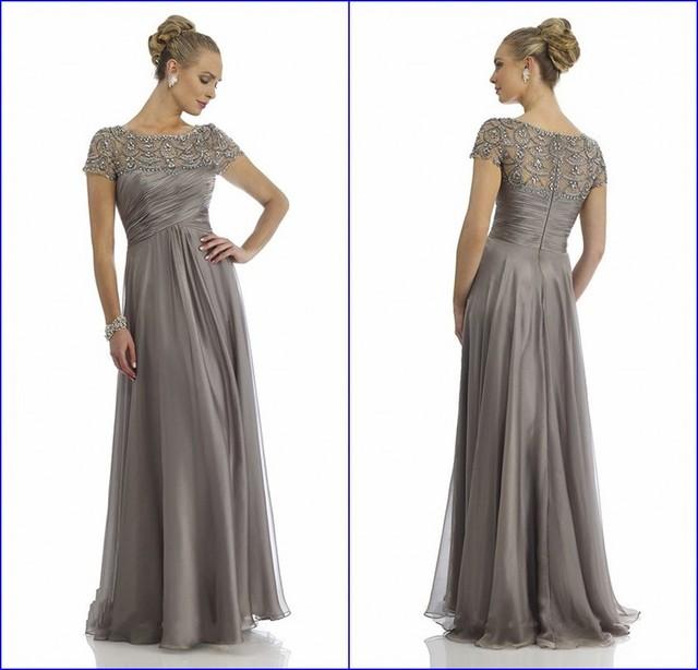 Sheer Colher Decote Totalmente Frisada da Luva do Tampão de Prata Plus Size Mãe dos Vestidos de Noiva Vestido de Noite Vestido de mae de noiva