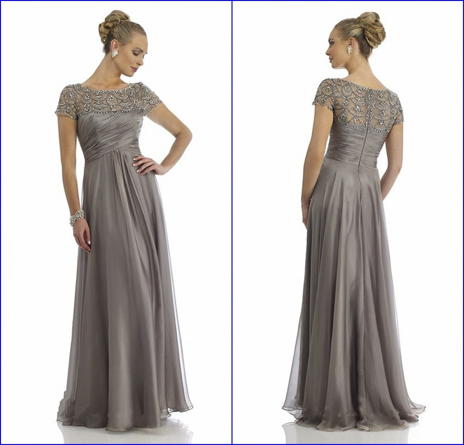 Plus Size Mother Bride Dresses: Sheer Scoop Neckline Fully Beaded Cap Sleeve Silver Plus