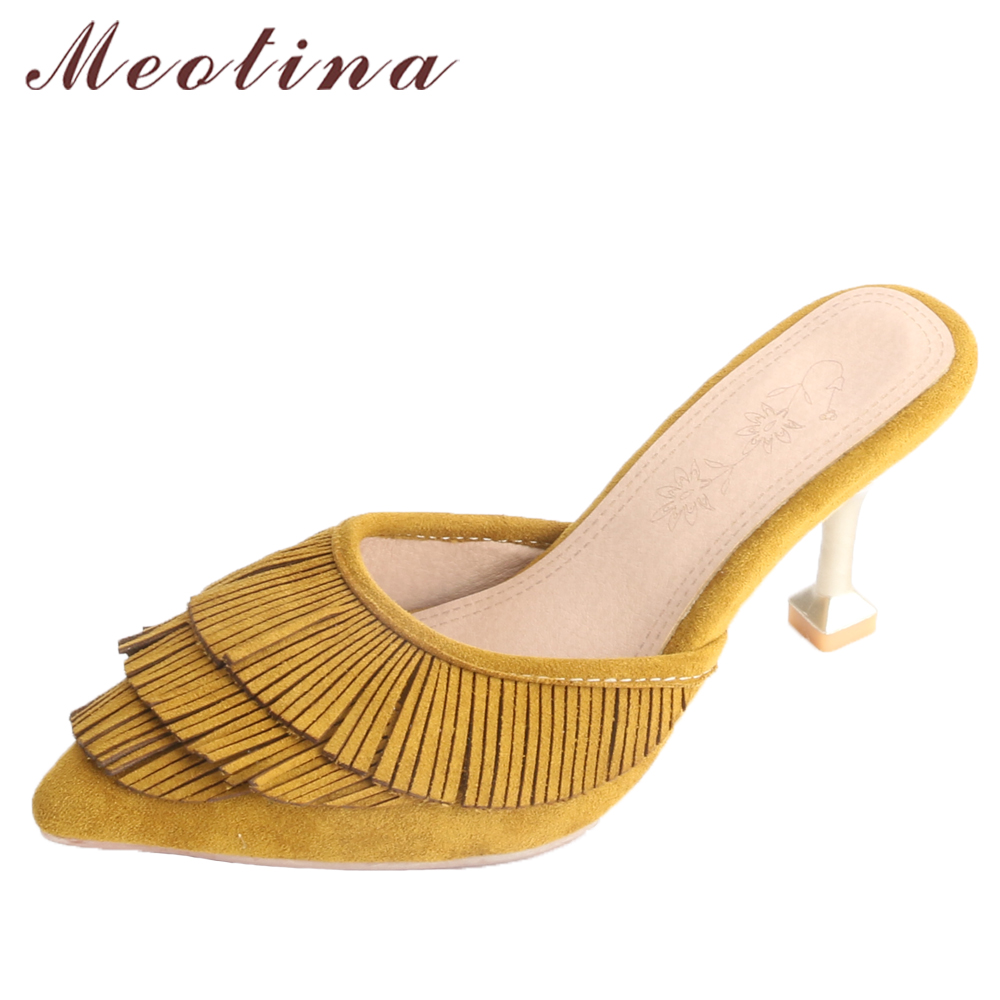 Meotina Women Pumps High Heels Slippers Tassel Kitten Heels Ladies Mules  Shoes 2018 Spring Party Shoes Yellow Large Size 33-43 92d68a8ca308