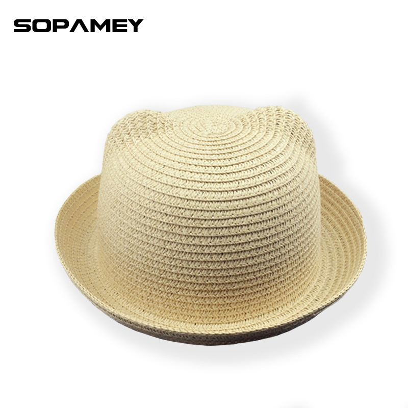 2017 New Straw Hats Summer Baby Ear Decoration Lovely Children Character Girls And Boys Sun Hat