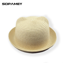 2017 New Straw Hats Summer Baby Ear Decoration Lovely Children Character Girls And Boys Sun Hat Solid Kid Cap Floppy Panama