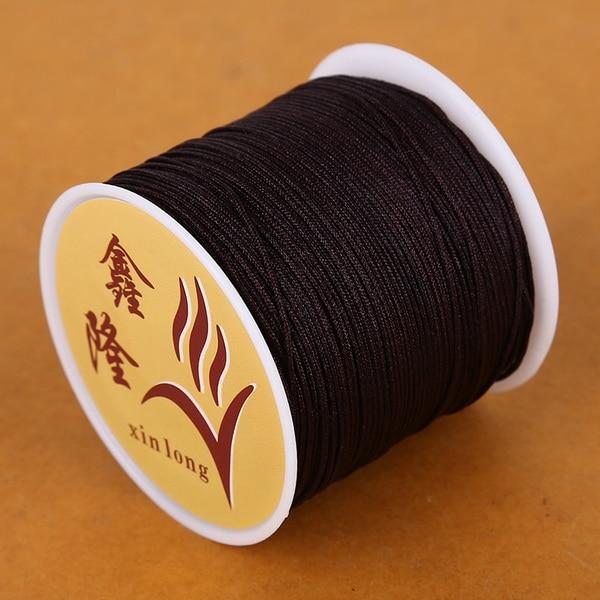 50 метров 0,8 мм нейлоновый шнур, китайский Узелок, шнур макраме, браслет, плетеный шнур, бисероплетение, сделай сам, ювелирный шнур, нить - Цвет: Brown