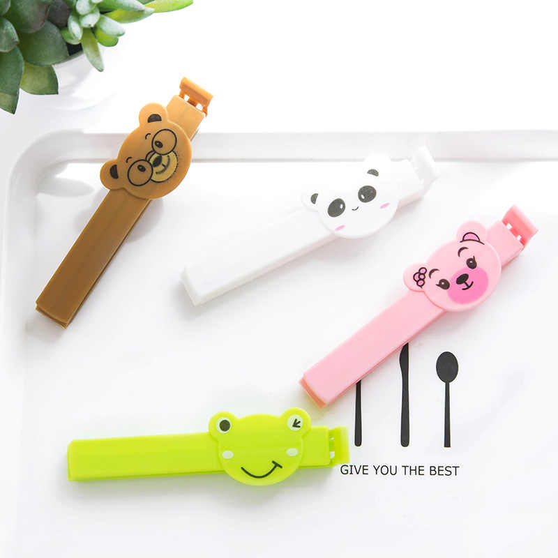 4 pcs/set Cartoon Animal Bag Clips Food Storage Bag Sealer Snack Storage Seal Sealing Clamp For Kitchen Home Office Close Clip