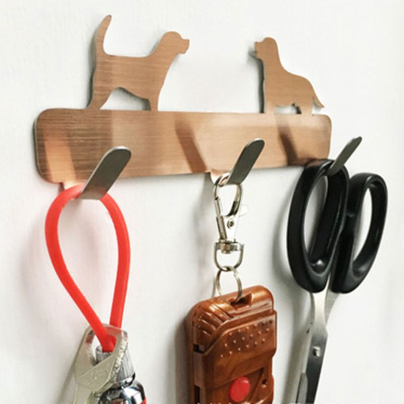 Cat Dog Self Adhesive Home Kitchen Wall Door Stainless Steel Holder Hook Hanger Perfect For Bathroom Door Wall Convenient 1piece