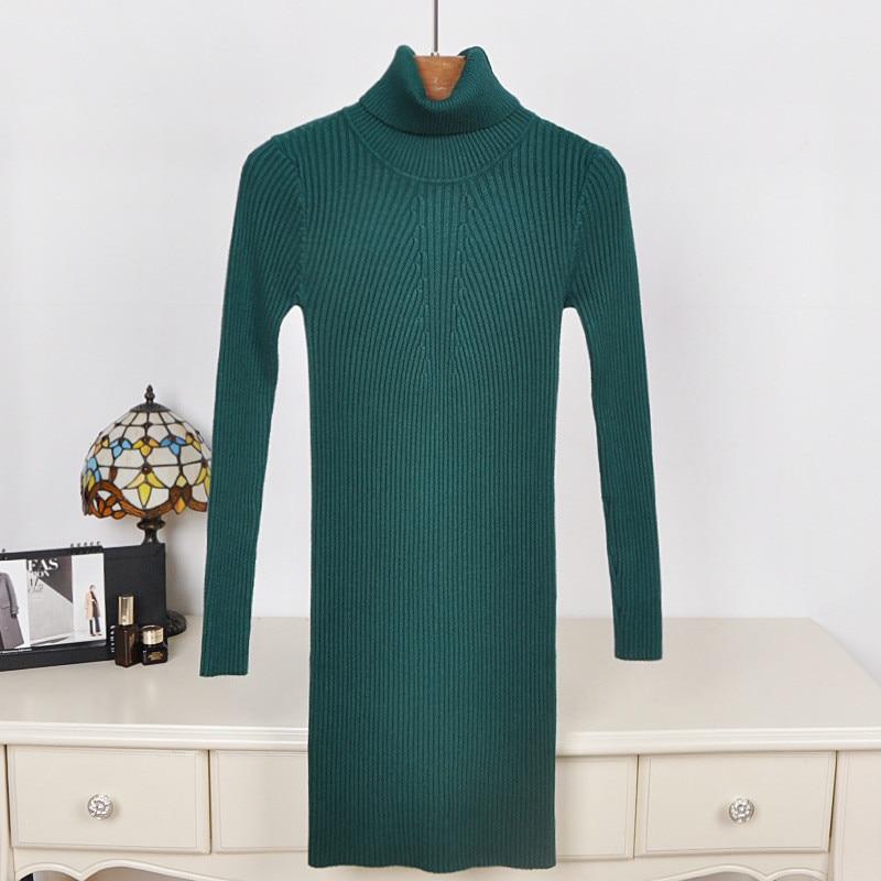Fashion Casual Turtleneck Long Knitted Sweater Women Dress Vestidos Slim Bodycon Ladies Dresses YN3080