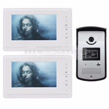 DIYSECUR 4-Wire Video Door Phone Kit Outdoor 1 X Camera With RFID 2 X 7 inch LCD Color Monitor