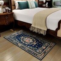 Blue Mediterranean Style Carpet Bedroom Living Room Door Floor Rectangular Mat