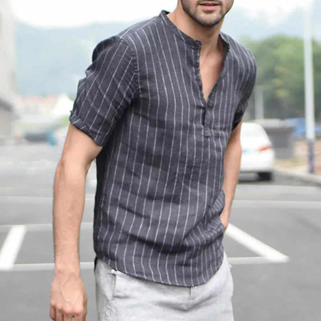 男性の春夏長袖シャツだぶだぶの綿シャツリネンストライプ半袖レトロトップスブラウス # p40