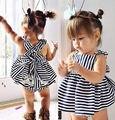 2016 varejo de moda verão menina roupa do bebê 0-24 M bebé bonito vestido sem mangas vestido listrado + short