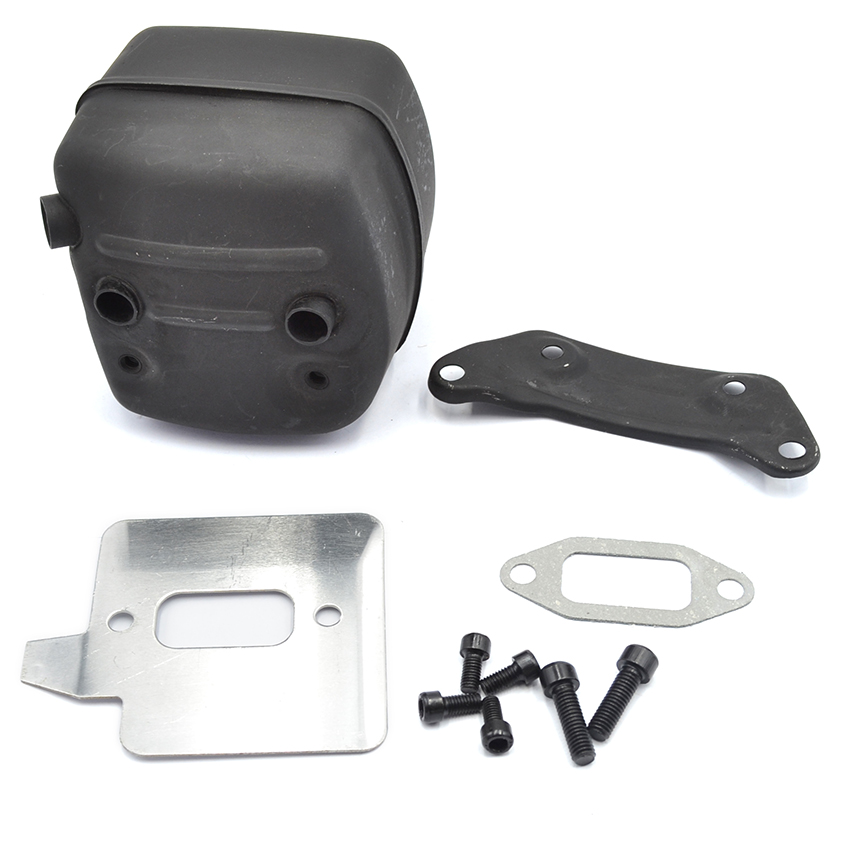 Muffler Exhaust Bracket Gasket & Bolts Fits Husqvarna 385 390 372 371 365 362 Chainsaw 03 76 53-01 chainsaw piston assy with rings needle bearing fit partner 350 craftsman poulan sm4018 220 260 pp220 husqvarna replacement parts