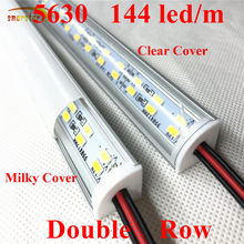 Smarstar 12 V 0.33 M 48 LED Sudut Double Row LED Strip 5630 V-Aluminium Kasus Susu Clear Cover 33 Cm LED Bar Lampu Lemari Kabinet(China)