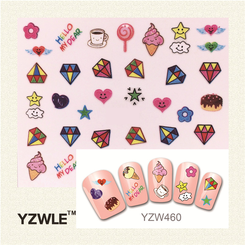 YZWLE Fashion Style 1 Sheets 3D Design Cute DIY Cartoon Colorful Diamonds Tip Nail Art Nail Sticker  Manicure Nail Tools