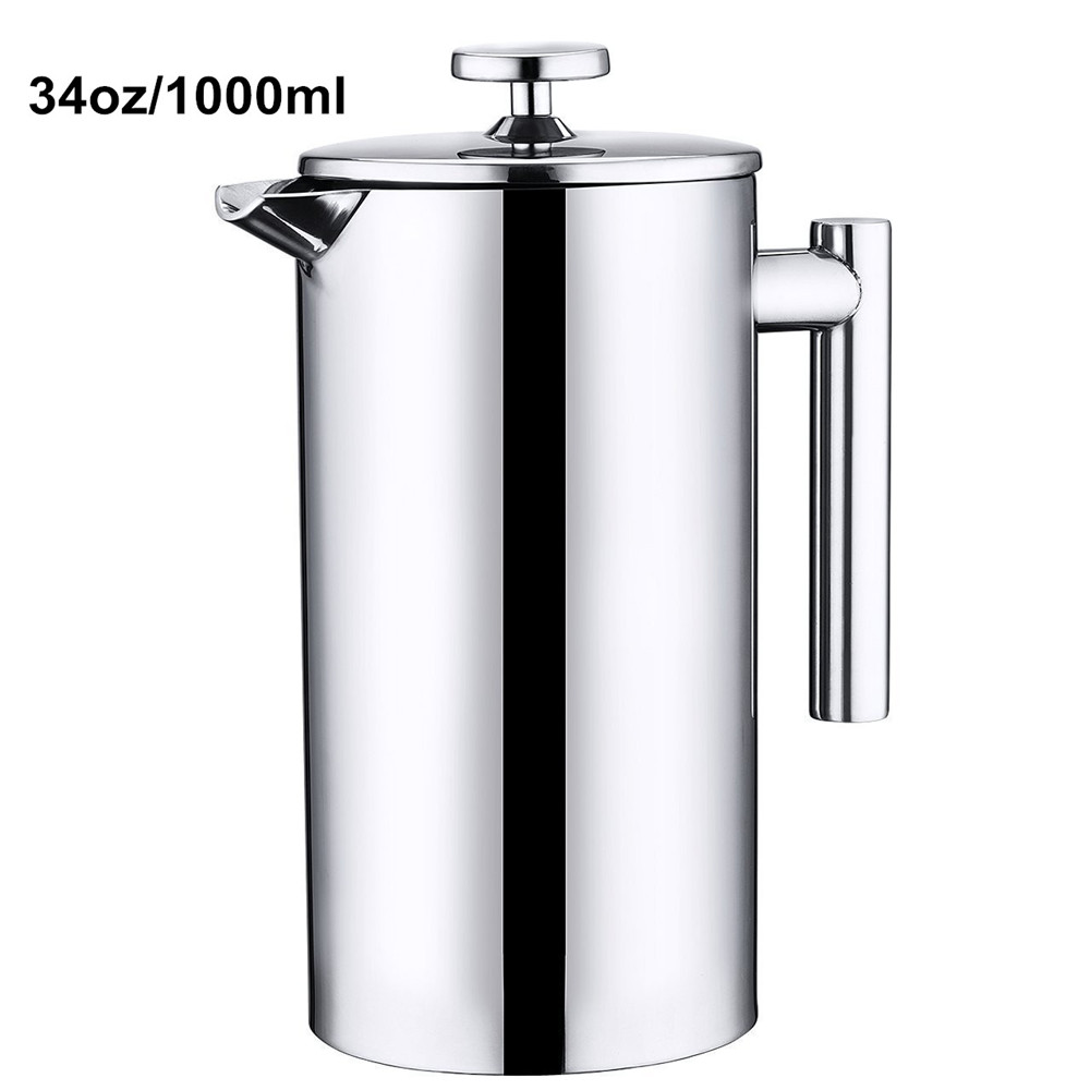 Realand Classical 34OZ 1000ML Double Wall Stainless Steel French Press Coffee Maker Plunger Tea Pot Espresso