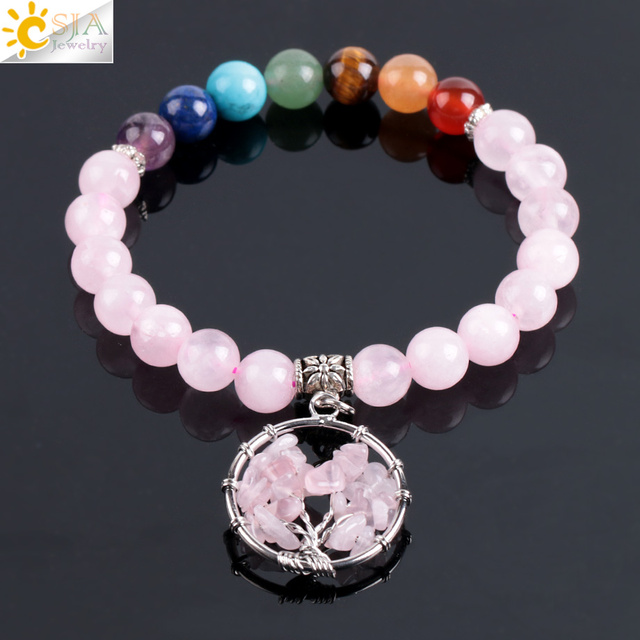 7 Chakra Pink Quartz Tree of Life Bracelets & Bangles for Women Gem Natural Stone Bracelet Mala Beads Meditation Healing E910