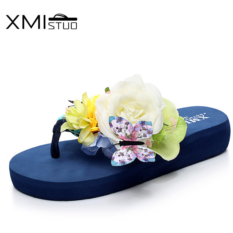 XMISTUO flip flops female summer beach shoes are a non slip flower pinch slope with thick bottom cute sweet series slippers Обувь