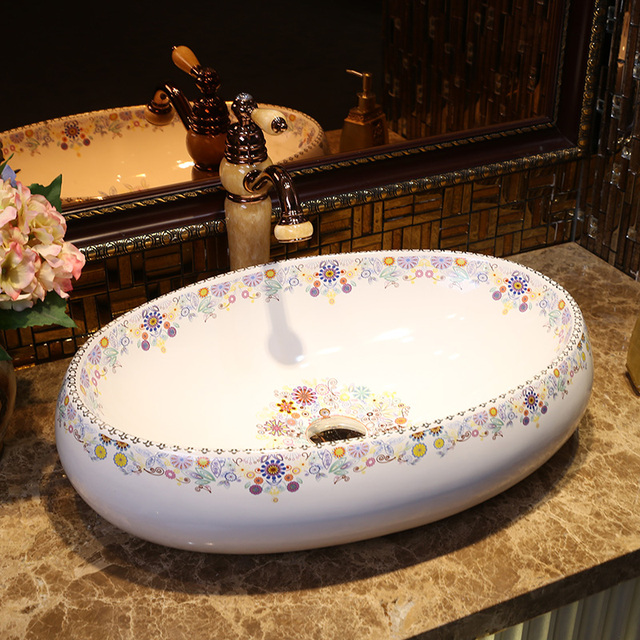 Europe Vintage Gold Ceramic Art Basin Sinks Counter Top Wash Basin Bathroom Vessel  Sink Vanities Fancy