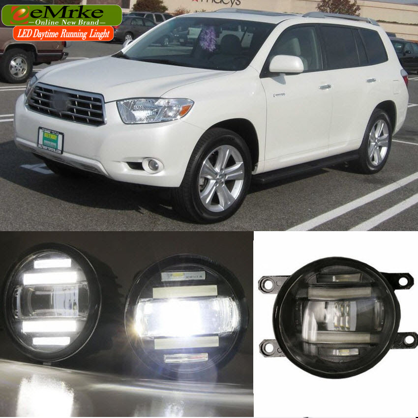 eeMrke Xenon White High Power 2in1 LED DRL Projector Fog Lamp With Lens For Toyota Highlander XU40 XU50 2009-2013 2015 2016 eemrke xenon white high power 2 in 1 led drl projector fog lamp with lens daytime running lights for renault kangoo 2 2008 2015