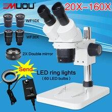 20X-40X-80X-160X Pillar Standı Yakınlaştırma Binoküler Stereo Mikroskop PCB inceleyin mikroskop + 60LED + Iki iki katına WF20X + 2X ayna