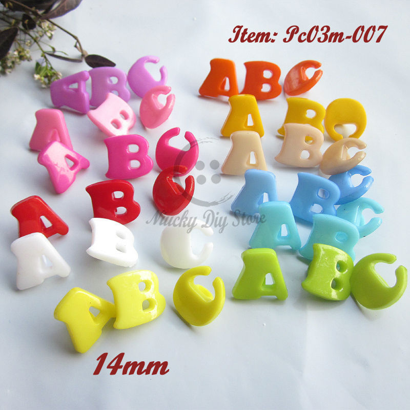 120pcs Alphabet buttons Mixed colors ABC kids buttons shank & ABC signs kids sewing crafts and decoration accessories wholesale