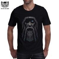 Rocksir Men Punk Tops Gorgeous Odin Vikings Printed T Shirts Cotton Short Sleeve Tee Shirts Hipster