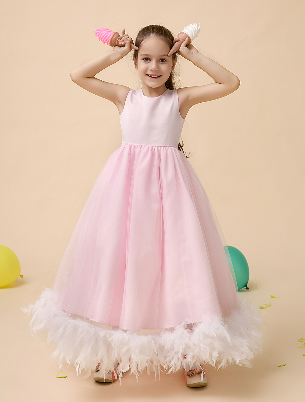 A line Satin little girls dresses Children Pageant Dresses with feather kids girls formal dresses
