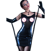 HU GH Plus Size Black Transparent Mesh Leather Bandage Dress Sexy Hot Backless Night Clubwear See