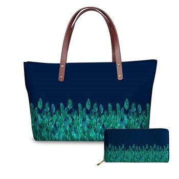 NOISYDESIGNS, bolsos con asa superior para mujer, hojas de acuarela verdes en el borde de la Marina, carteras de impresión y bolsos para señoras y niñas, bolsos de mano