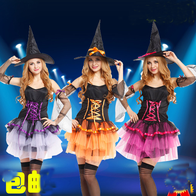Free shipping ,adult women pink purple orange halloween party witch princess dress costume with hat