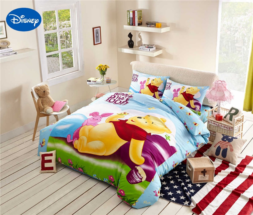 Winnie the pooh toddler bedding - Winnie The Pooh Piglet Bedding Girls Comforters Cotton Bed Sheet Duvet Cover Sets Single Twin Queen Disney Character Blue Green