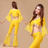Women Sexy Belly Dancing Costume Top Pants 2 Pcs Female Bellydance Practice Costume Indian Dance Clothes