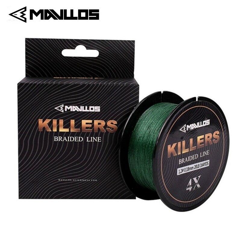 Mavllos killers 4 fios trançado linha de pesca 150m 0.06mm-0.6mm 4-121lb super forte multifilamento de água salgada 4 w pe linha de pesca