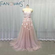 Vintage Blush Pink Wedding Dresses Flower Beads Beach Boho Bridal Gowns robe de maree Elegant Wedding Gowns Tulle Wedding Dress