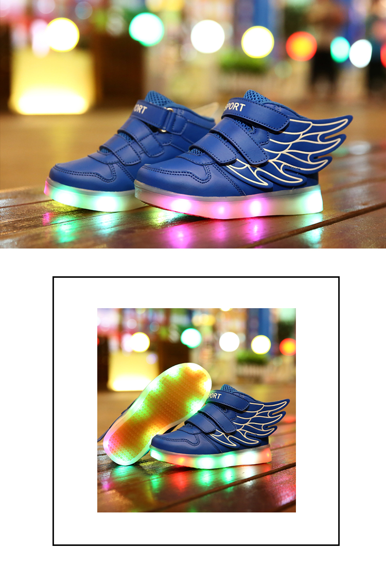 HTB1MJyoef9TBuNjy1zbq6xpepXa3 - UncleJerry Kids Light up Shoes with wing Children Led Shoes Boys Girls Glowing Luminous Sneakers USB Charging Boy Fashion Shoes