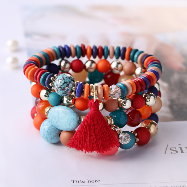 Aliexpress Natural Stone Bracelets Tassel Beaded Bracelets Boho Fashion Beach Summer Handmade Women Charm Bracelets Jewelry