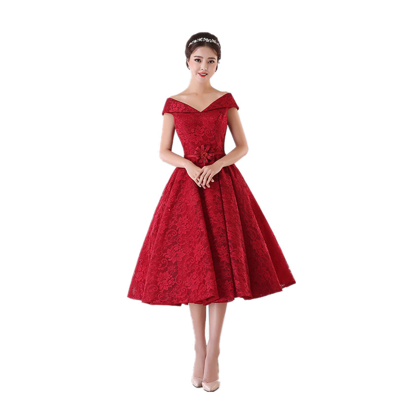 Red Short Wedding Dresses: MDBRIDAL Dark Red Short Lace Bridesmaid Dress Off Shoulder