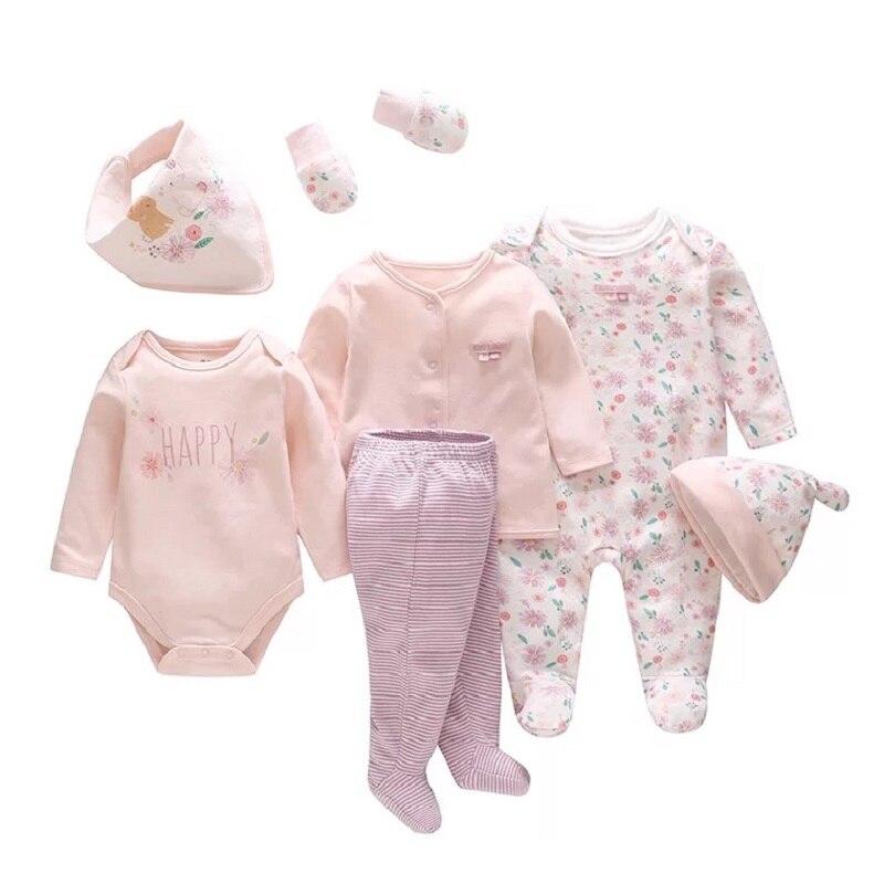 Vlinder Baby Girl Boy Clothes Newborn Baby Boy Girl Clothes Set Cotton Jumpsuit Pajamas Bodysuit Footy Cap Gloves Bib 7PCS SET