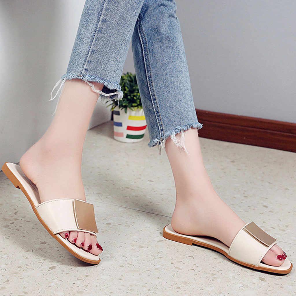 Chinelos de couro feminino plana verão praia senhora escritório sapatos casuais flip flops casa ao ar livre mujer slides couro roma plus size