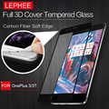 LEPHEE ONEPLUS 3/3T 3D Curved Tempered Glass Screen Protector Full Carbon Fiber Soft Edge (no edge Broken) Film for 1+ 3 THREE